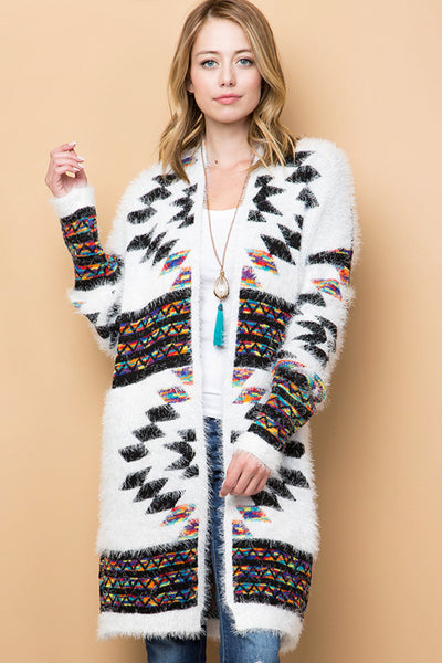 Southwest Stargazer Eyelash Knit Cardigan - White