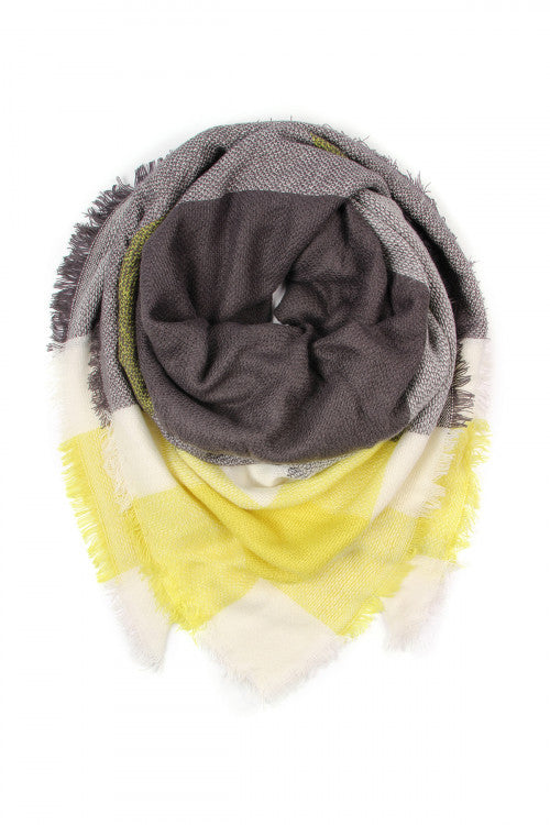 Oversize Blanket Scarf - Yellow and Grey