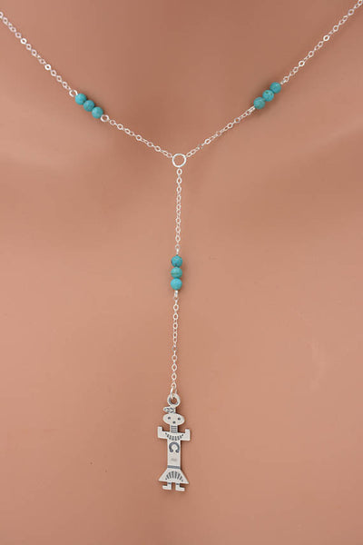 Kachina Turquoise Lariat Necklace in Silver