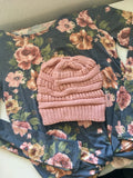 Messy Bun Beanie - Dusty Rose Pink