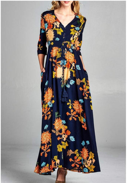 Summer Daydreams Dress in Navy Blue