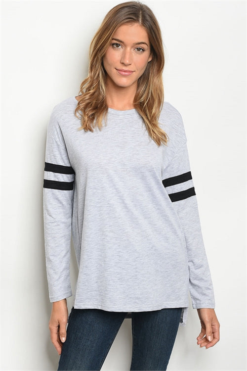Varsity Striped Sleeve Top