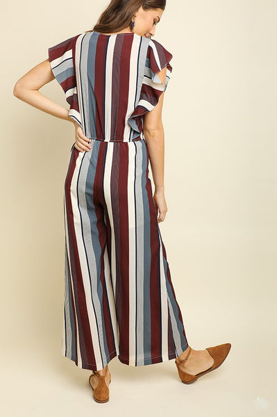 Picnic Ready Striped Jumpsuit in Wine