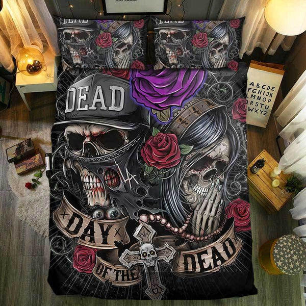 Day Of The Dead Bathroom Set: Skull Bedding Set Cover Day Of The Dead