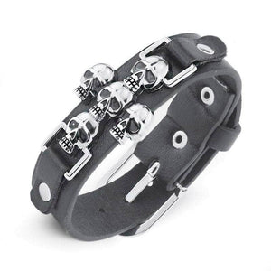 Skeleton Skull Punk Gothic Rock Leather Bracelet