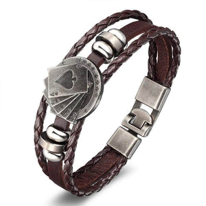 Poker Star Skull Leather Wrap Bracelet