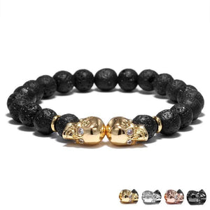 Double Skull Bracelet With Rhinestone Gem Eye