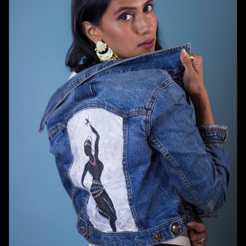 Hand-painted Bharatanatyam Dancer Women's Jean Jacket