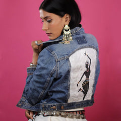 Image of Hand-painted Bharatanatyam Dancer Women's Jean Jacket