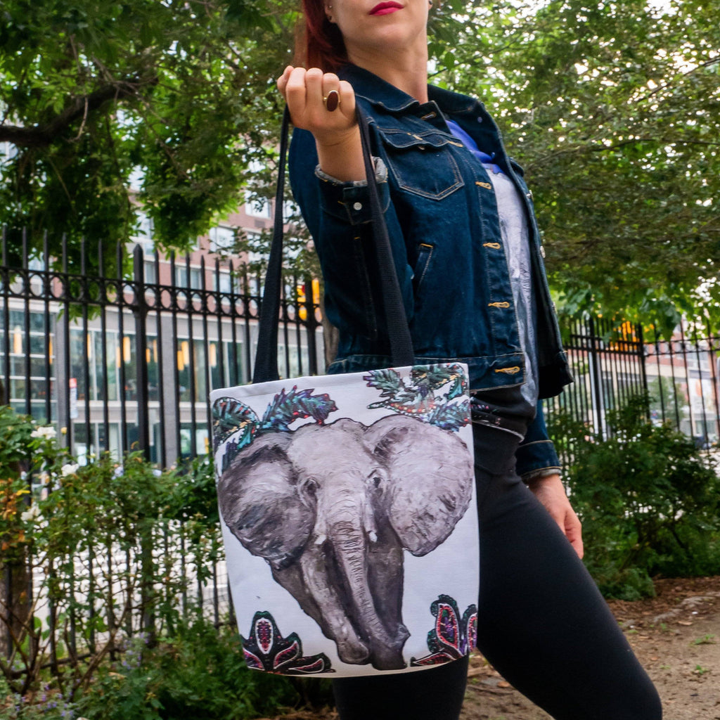 Elephant (white) Tote Bag