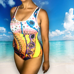 Desi Folk Print Classic One-Piece Swimsuit