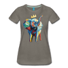 Image of Elephant x Crown Women's T-shirt - asphalt gray