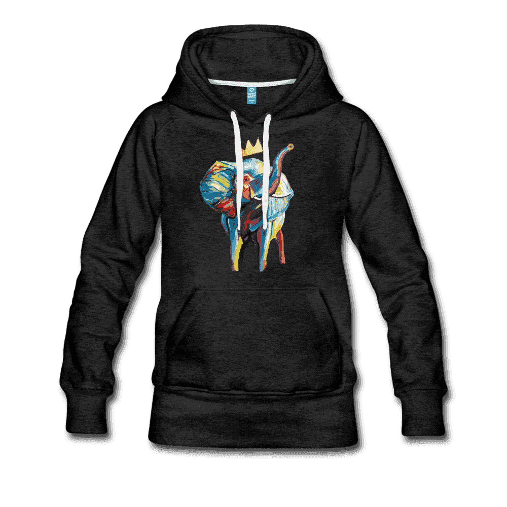 Women's Elephant x Crown Hoodie - charcoal gray