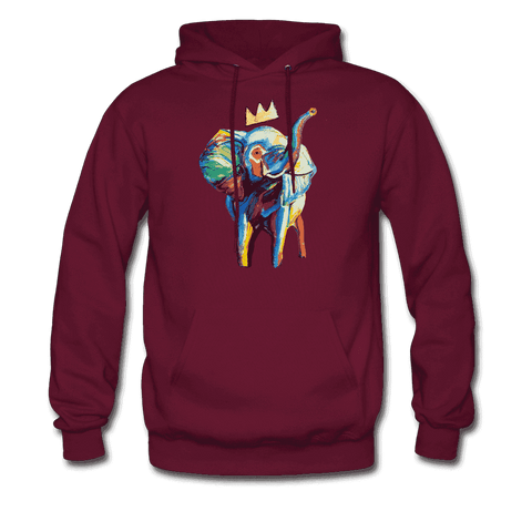 Men's Elephant x Crown Hoodie - burgundy