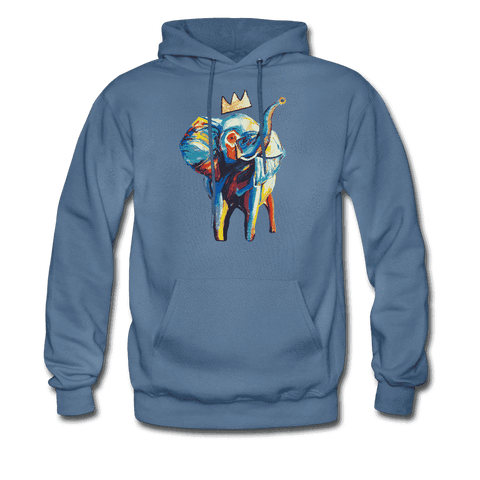 Men's Elephant x Crown Hoodie - denim blue