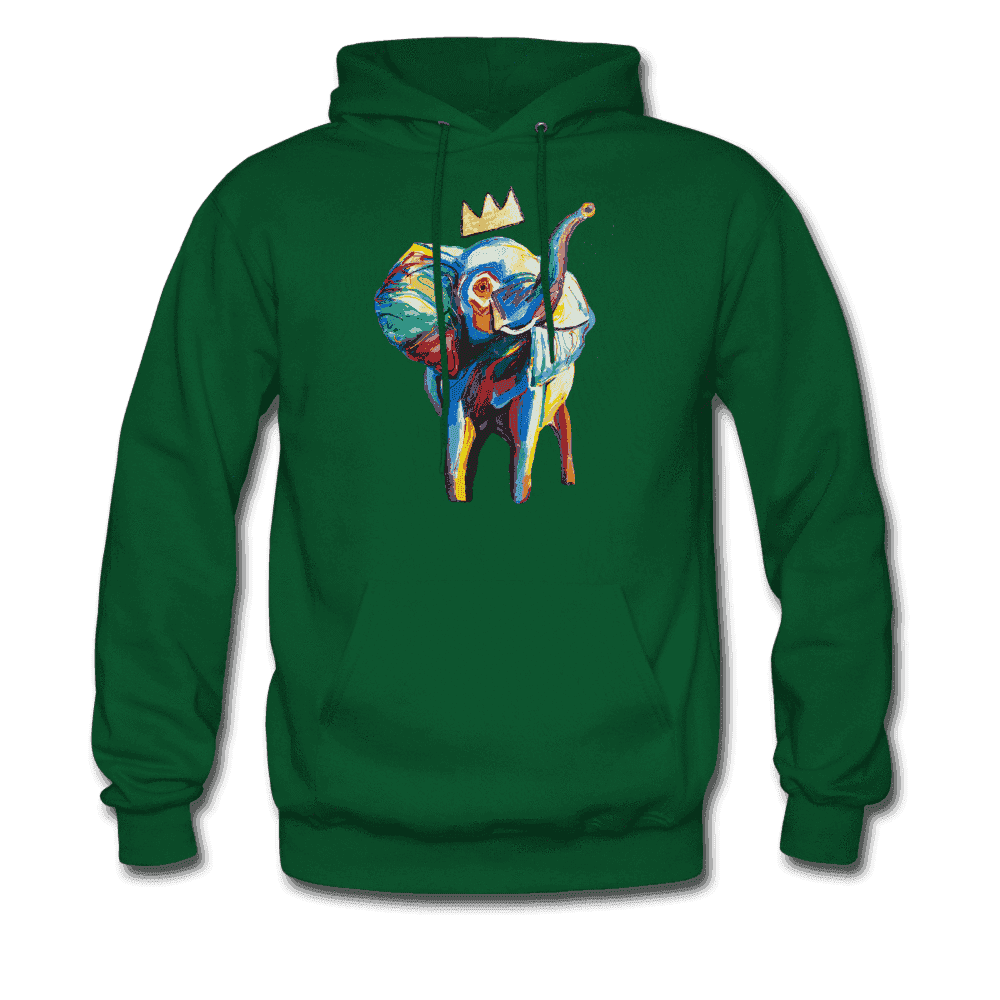 Men's Elephant x Crown Hoodie - forest green