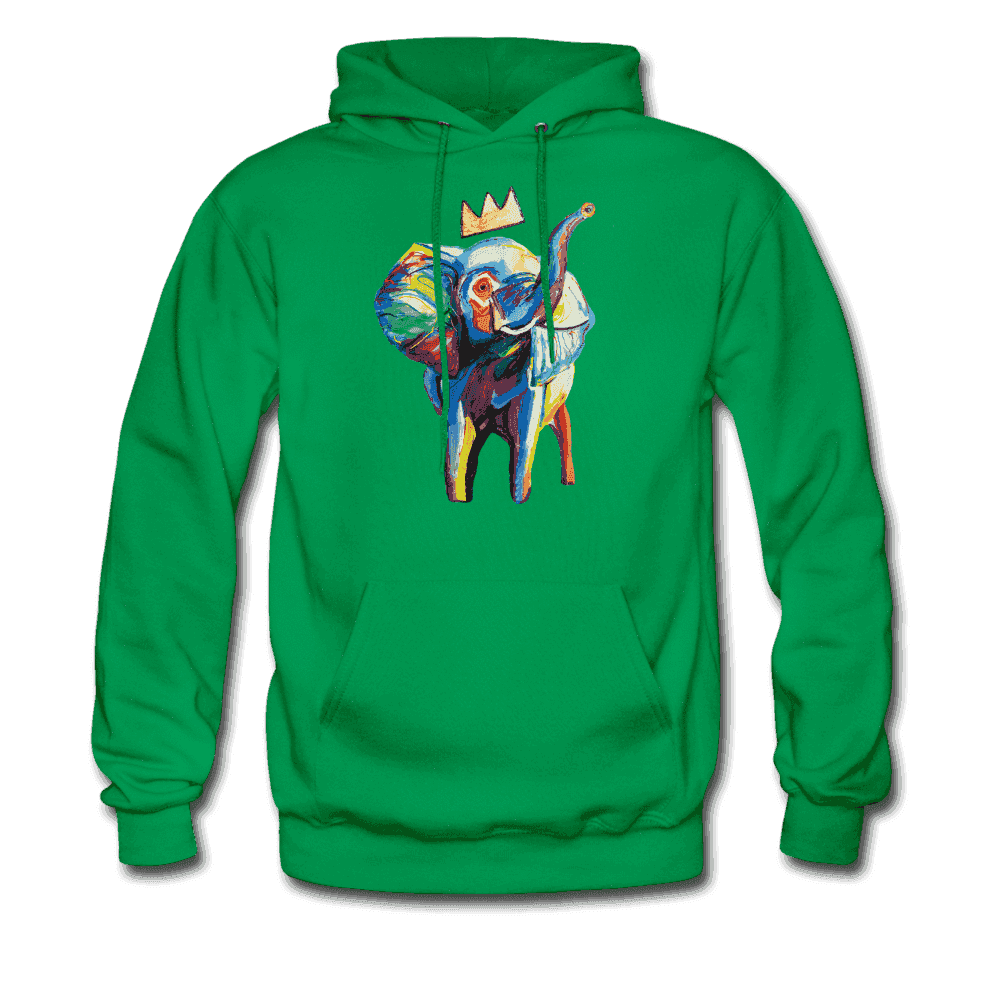 Men's Elephant x Crown Hoodie - kelly green