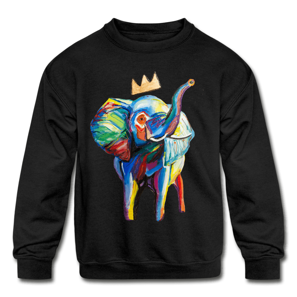 Elephant X Crown Kids Sweatshirt - black