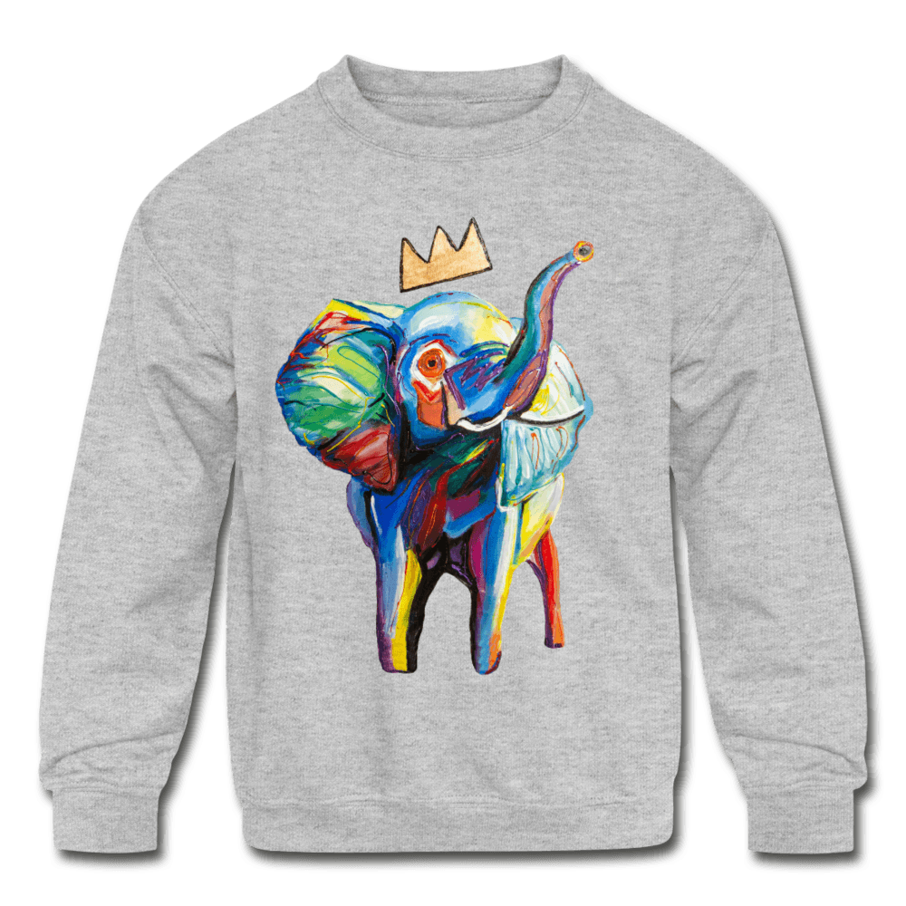 Elephant X Crown Kids Sweatshirt - heather gray
