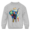 Image of Elephant X Crown Kids Sweatshirt - heather gray