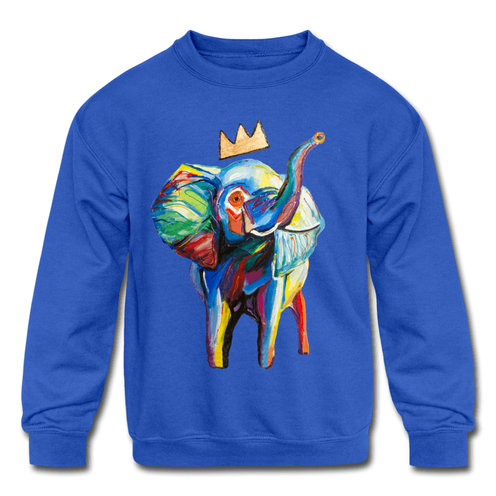 Elephant X Crown Kids Sweatshirt - royal blue