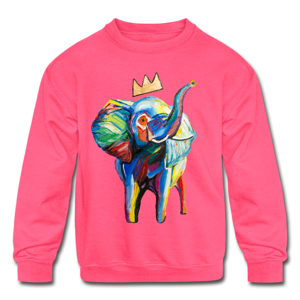 Elephant X Crown Kids Sweatshirt - neon pink