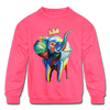 Image of Elephant X Crown Kids Sweatshirt - neon pink