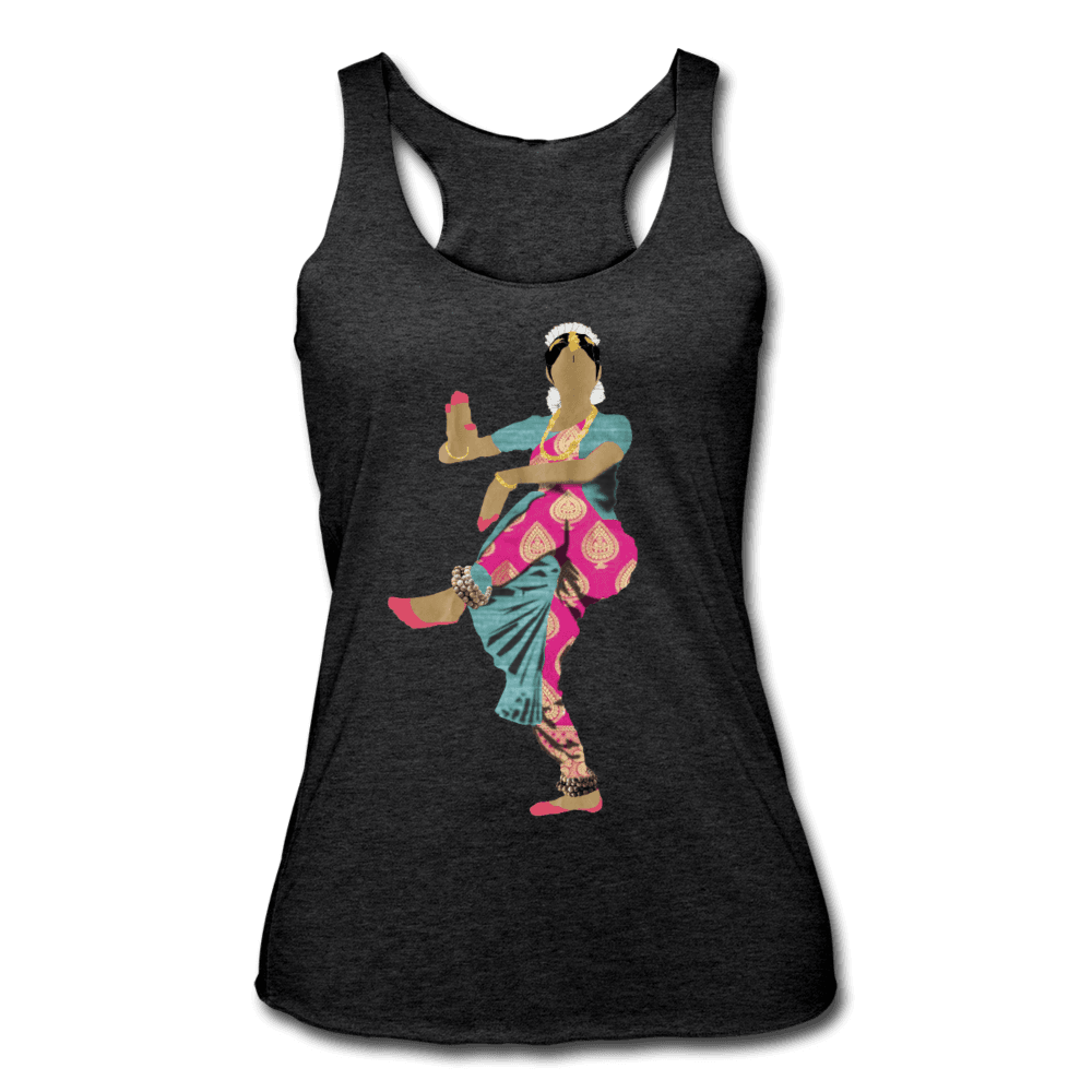 Bharatanatyam Dancer Racerback Tank - heather black