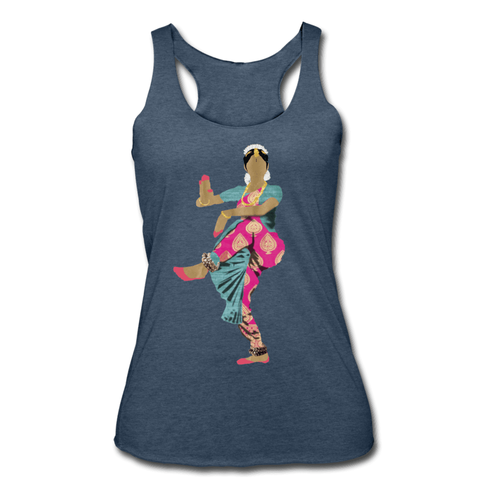 Bharatanatyam Dancer Racerback Tank - heather navy