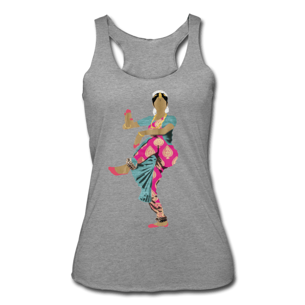 Bharatanatyam Dancer Racerback Tank - heather gray