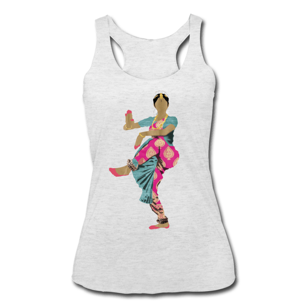 Bharatanatyam Dancer Racerback Tank - heather white