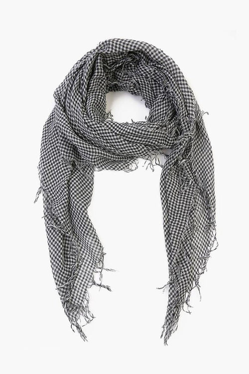 Black White Gingham Cashmere and Silk Scarf