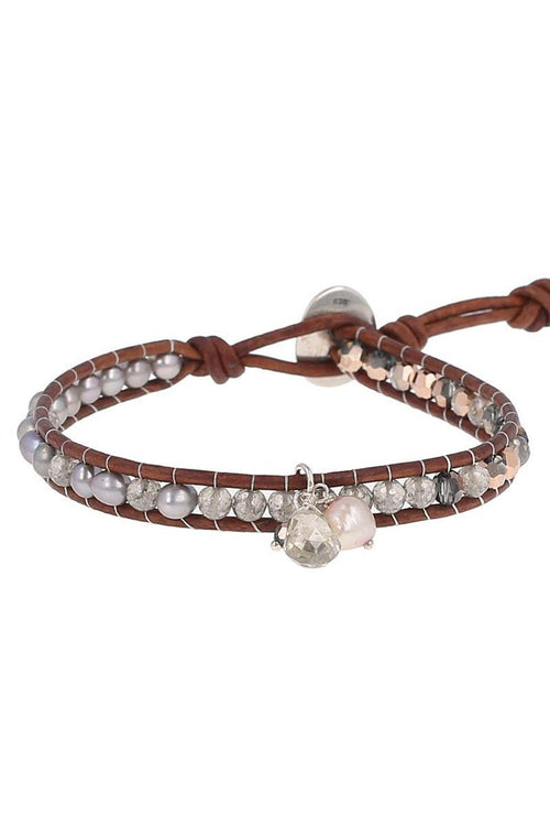Taupe Mix Charm Single Wrap Bracelet