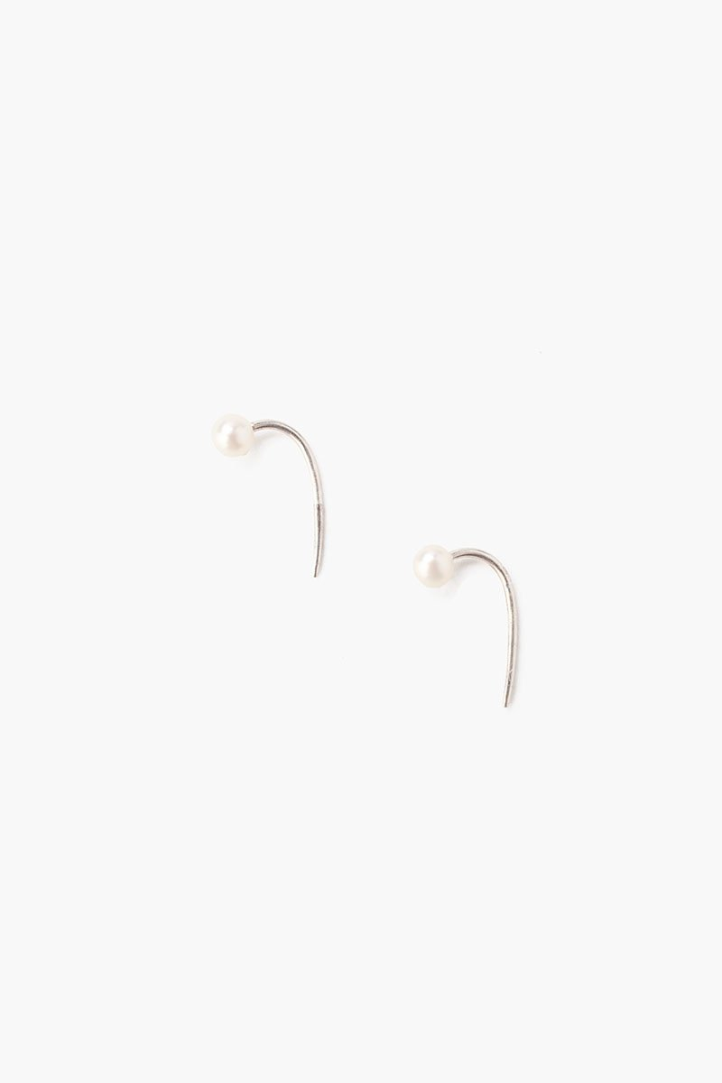 White Pearl Hook Earrings