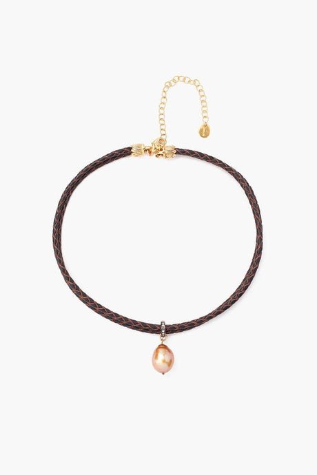 Diamond and Pearl Choker on Dark Brown Leather