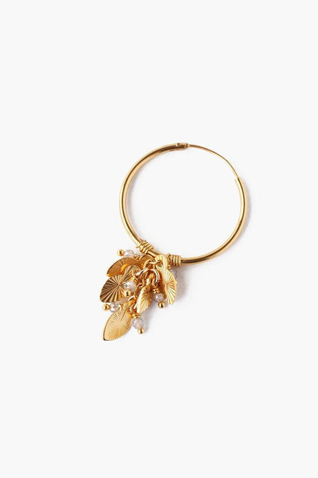 Gold Mix Leaf Charm Hoop Earrings