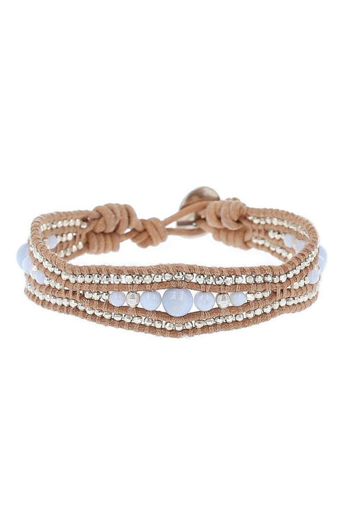 Blue Lace Agate and Beige Leather Bracelet