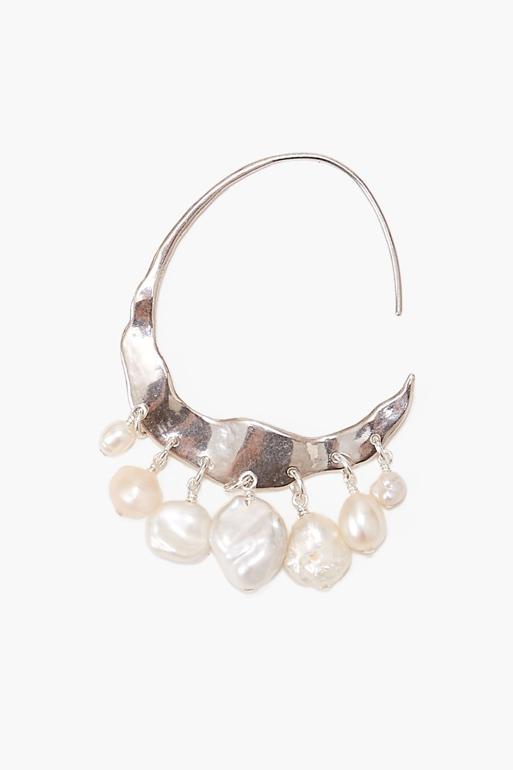 Crescent White Pearl and Silver Hoop Earrings