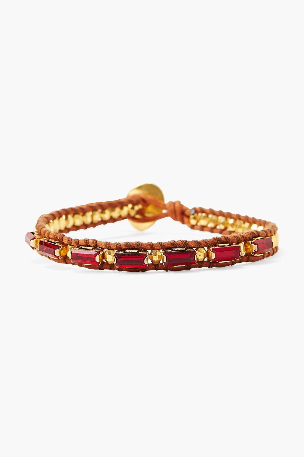 Siam Crystal and Gold Single Wrap Bracelet