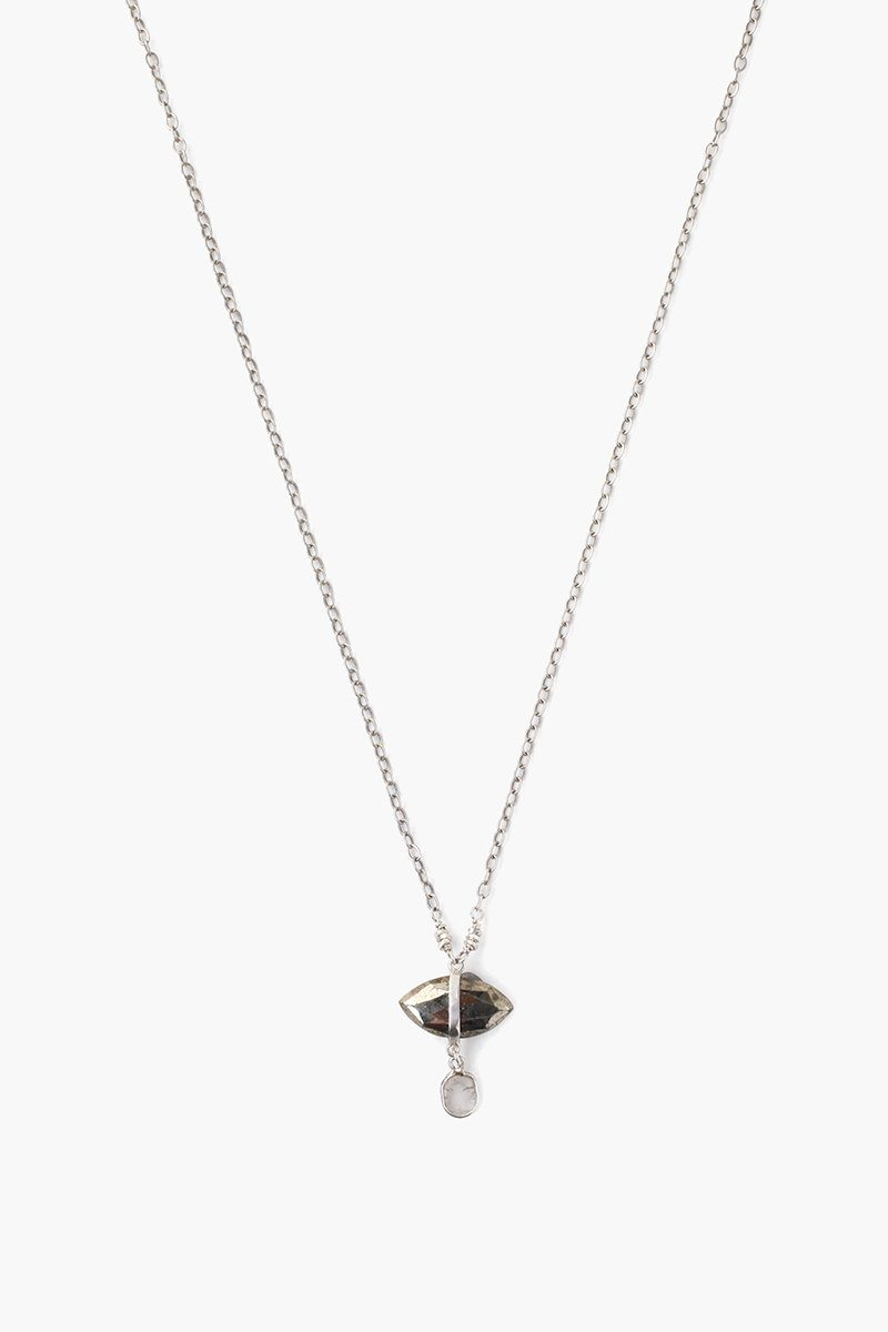 Pyrite Evil Eye and Sliced Diamond Charm Necklace