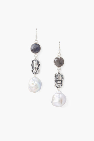Tiered Beetle and Labradorite Stone Earrings