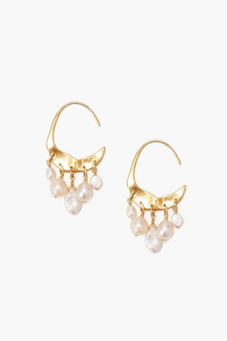 Petite Crescent White Pearl and Gold Hoop Earrings