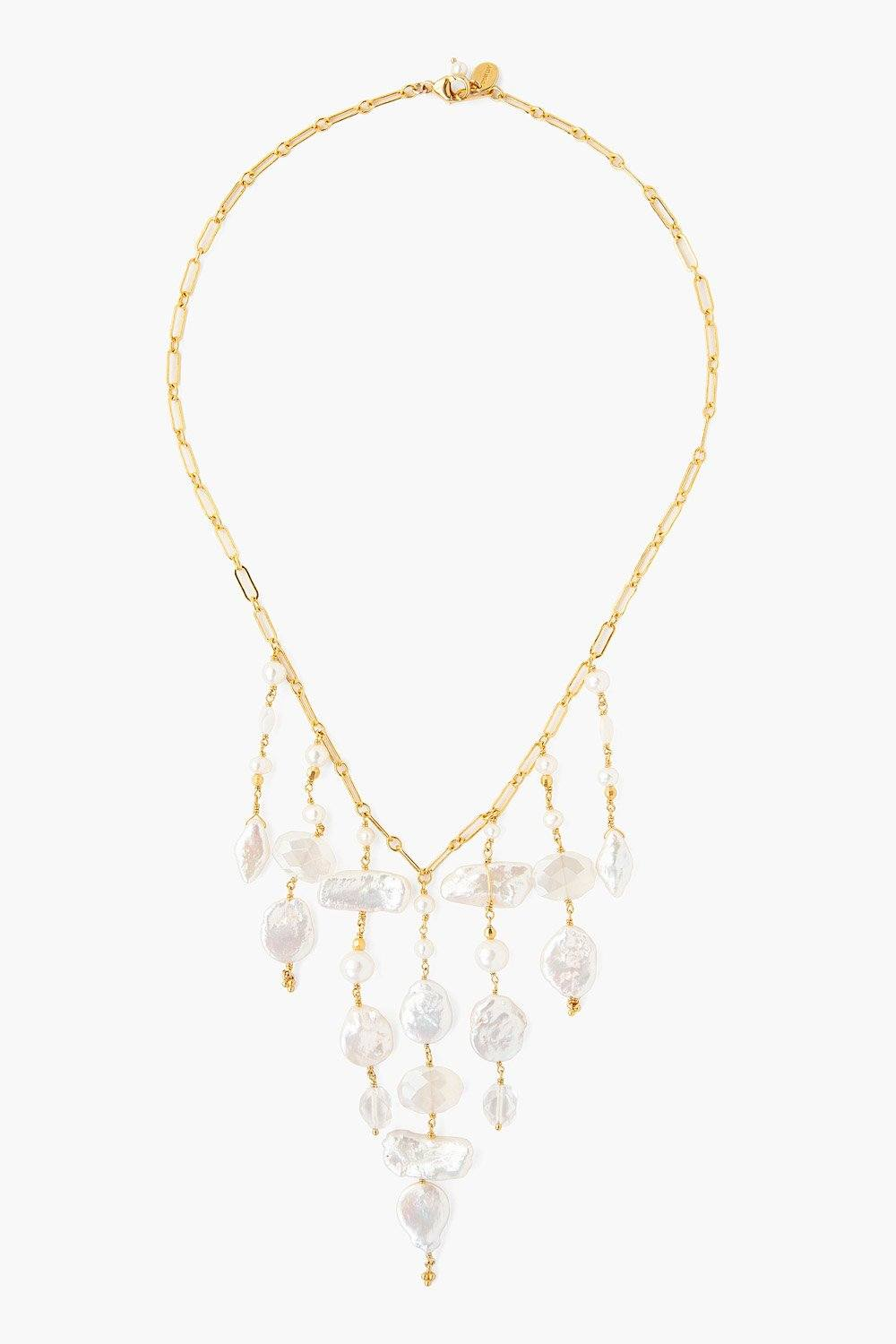 White Pearl Mix Fringe Necklace