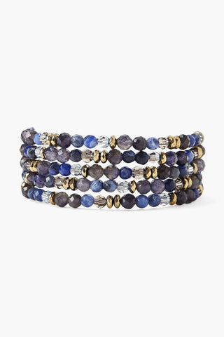 Sodalite and Crystal Naked Wrap Bracelet