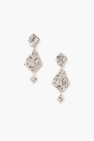 Tiered Hammered Silver Earrings