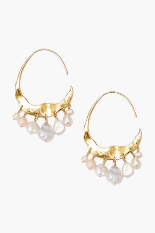 Crescent White Pearl and Gold Hoop Earrings