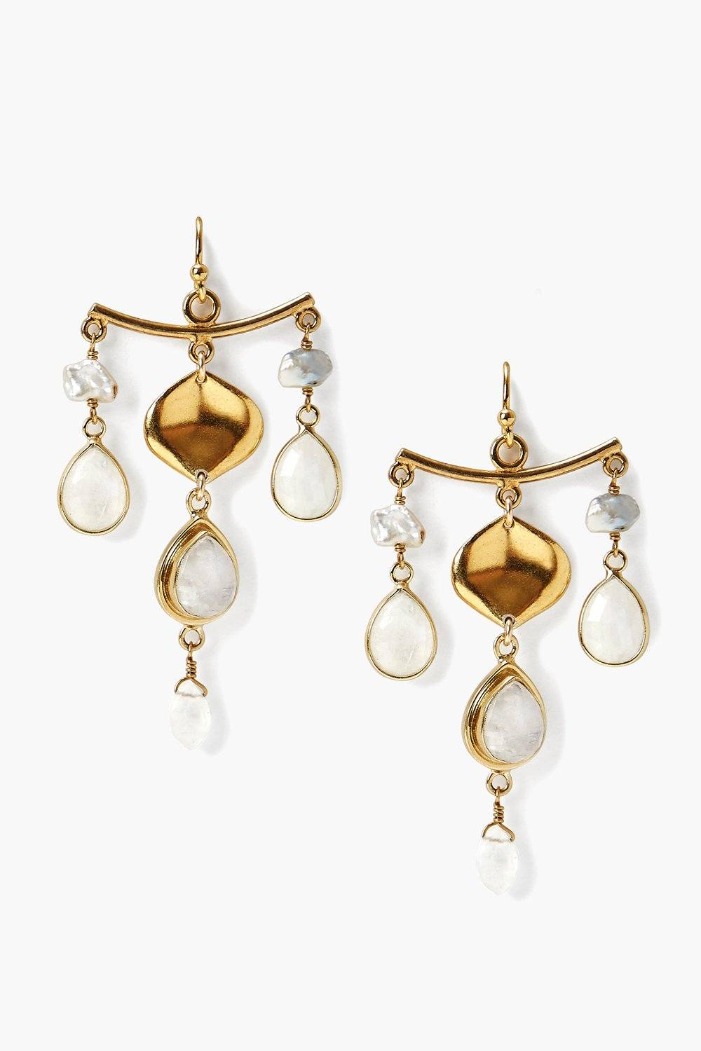 Moonstone Mix Chandelier Earrings