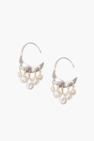 Petite Crescent White Pearl and Silver Hoop Earrings
