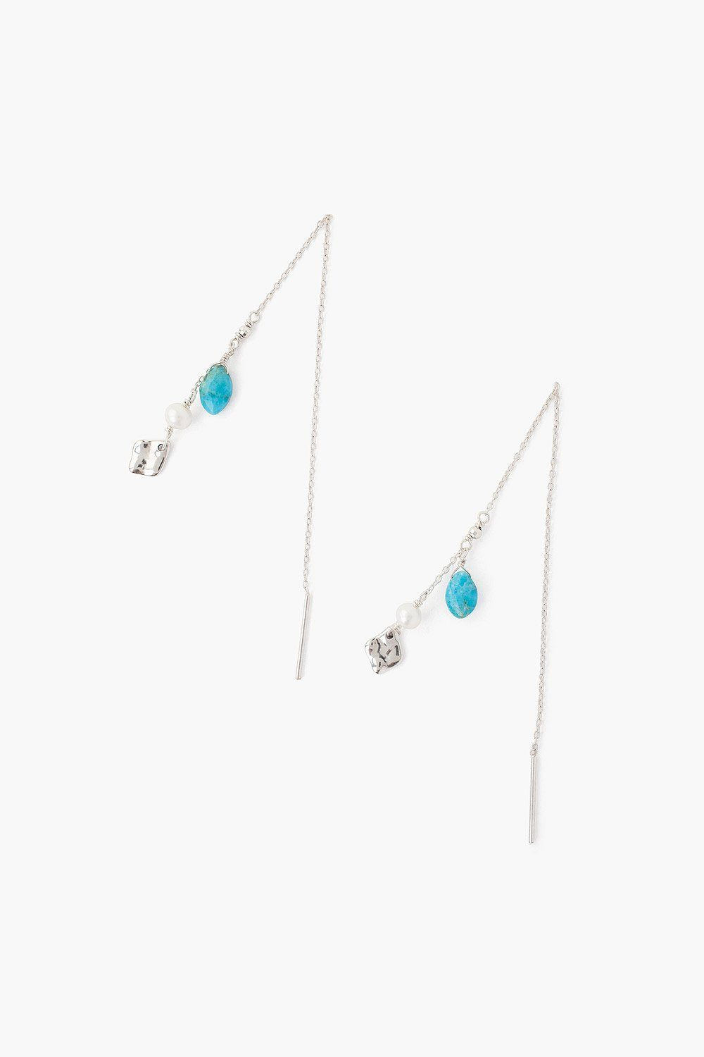Turquoise and White Pearl Thread Thru Earrings