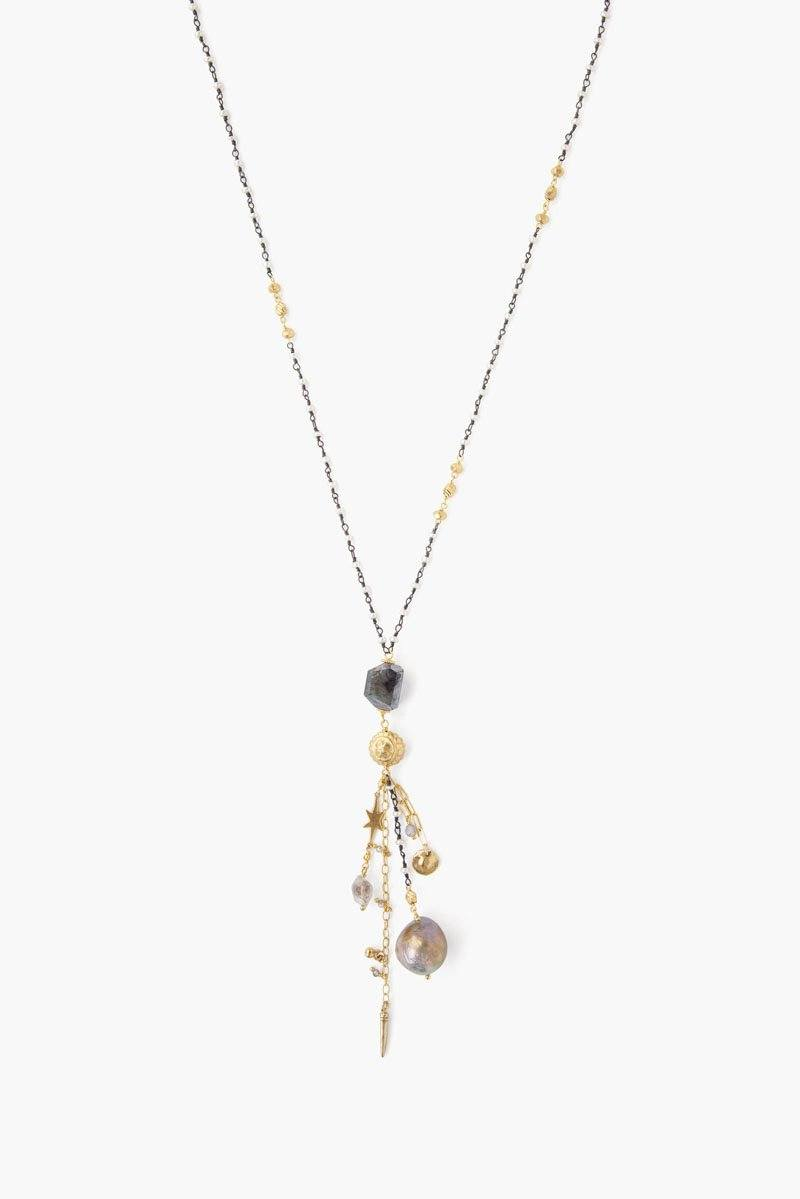 Dark Champagne Pearl Mix Fringe Necklace